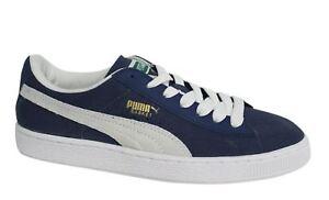 Puma Basket classiche blu navy bianco con Lacci Scarpe sportive uomo 356174 05