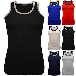 c85f8be0f23f5 Mens Summer Tank Contrast Neck Cotton Top Gym Beach Wear Training ...