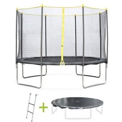 Pack trampoline Ø 370cm Okapi, avec filet, échelle et bâche de protection.