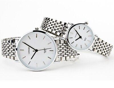 New Stainless Steel Classic Ultrathin Case Men Women Elegant Vogue Quartz Watch