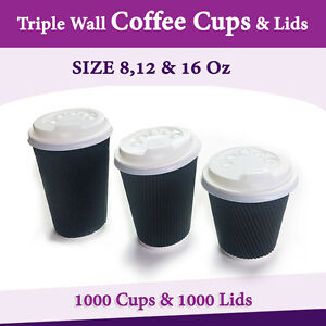 Image Is Loading Disposable Coffee Cups Triple Wall 8oz 12oz 16oz
