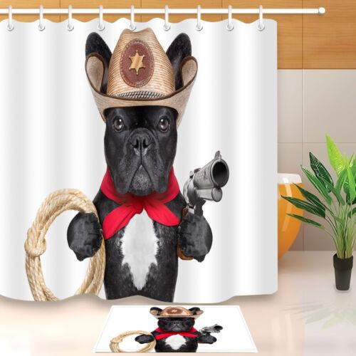 "60//72/"" Waterproof Fabric Bathroom Shower Curtain /&Hook Cowboy Dog Gun /""Hand up/"""
