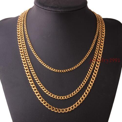 3.5-5mm Oro Amarillo De Acero Inoxidable para Hombres Chicos frenar Eslabón Cubano Collar De Cadena