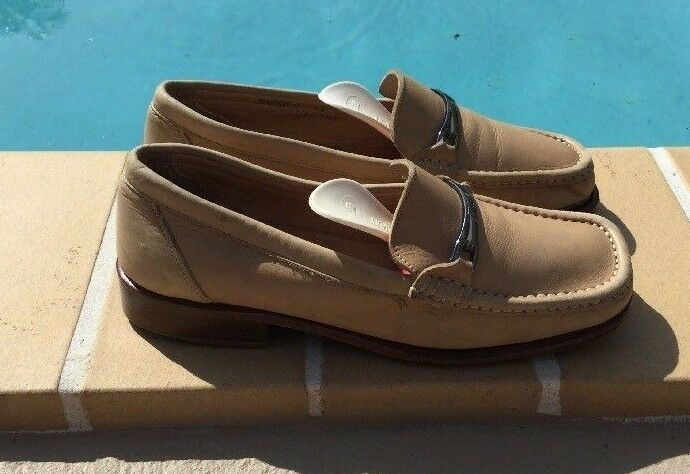 BALLY BEIGE LEATHER METAL DETAIL LOAFERS Schuhe ITALY Sz 5M MADE IN ITALY Schuhe d51807