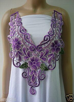 VY128 Vintage Floral Bodice Neckline Collar Venise Venice Applique Purple Green