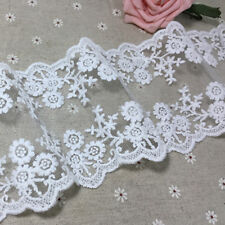 1yard White Cotton Tulle Floral Embroidered Lace Trim Wedding Veil Ribbon Sewing