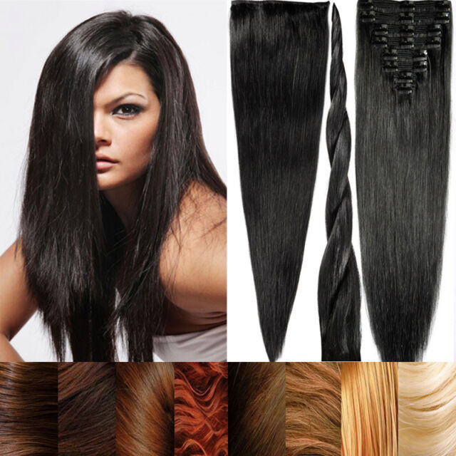 Long Wavy 100% Real Straight Clip In Remy Human Hair Extensions Full Head US C77