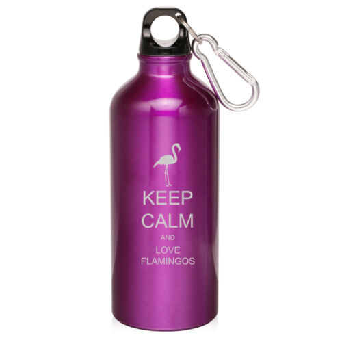 20oz Aluminum Sports Water Bottle Canteen Clip Keep Calm Love Flamingos