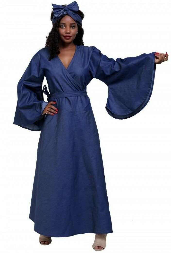 Dress Fits L XL 1X Plus Plus Plus bluee Denim Wax Cotton Wrap Around Bell Sleeve Africa 816 a3c6e6