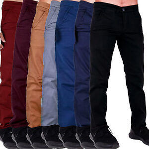105346a60d79 New Mens Chinos Stretch Skinny Slim Fit Smart Casual Trousers Jeans ...