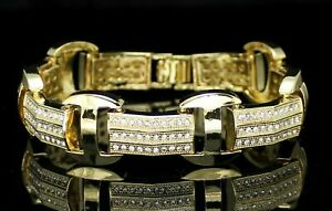 10Ct-Round-Cut-Diamond-Men-039-s-Iced-Out-Statement-Bracelet-14K-Yellow-Gold-Over