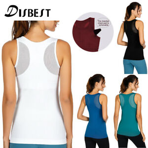 Women-039-s-Yoga-Tank-Tops-Stretchy-Sports-Workout-Running-Top-Vest-with-Chest-Pads
