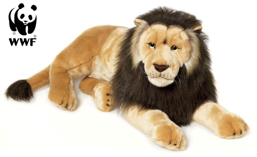 Wwf Stuffed Toy Lion ( Lying, 81 cm) Big Cat Cuddly Toy Lifelike Lion