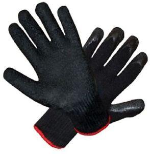 12 gummibeschichtet schwarz bauarbeiter garten arbeits latex handschuhe ebay. Black Bedroom Furniture Sets. Home Design Ideas