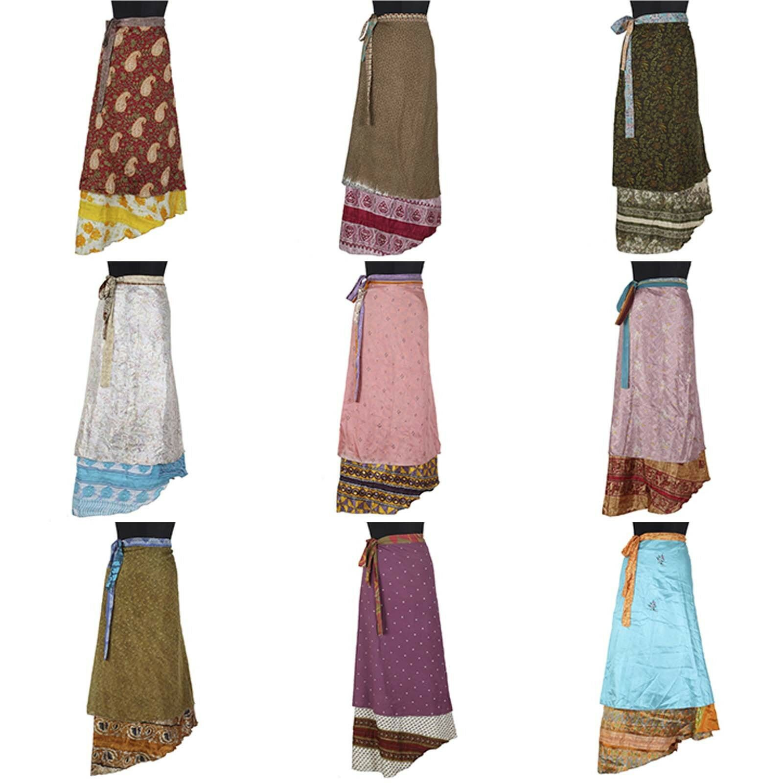 5 Pcs Mix Skirt Lot Vintage Art Silk Reversible Magic Silk Skirt