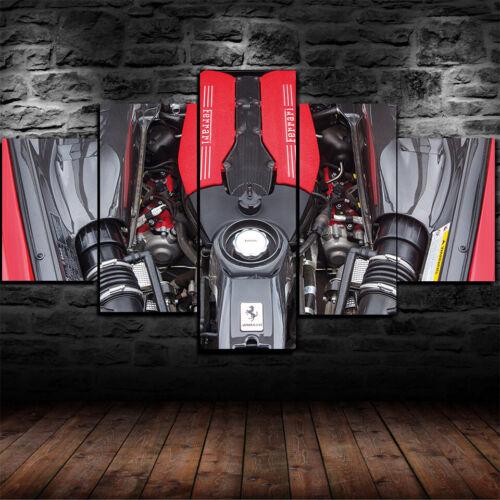 Ferrari 3.9-litre twin-turbo V8 Poster Canvas Print Wall Art Home Decor 5 Piece