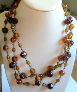 Utile Sautoir Grand Collier Ancien Perles De Verre Couleur Ambre Bijou Vintage 1680