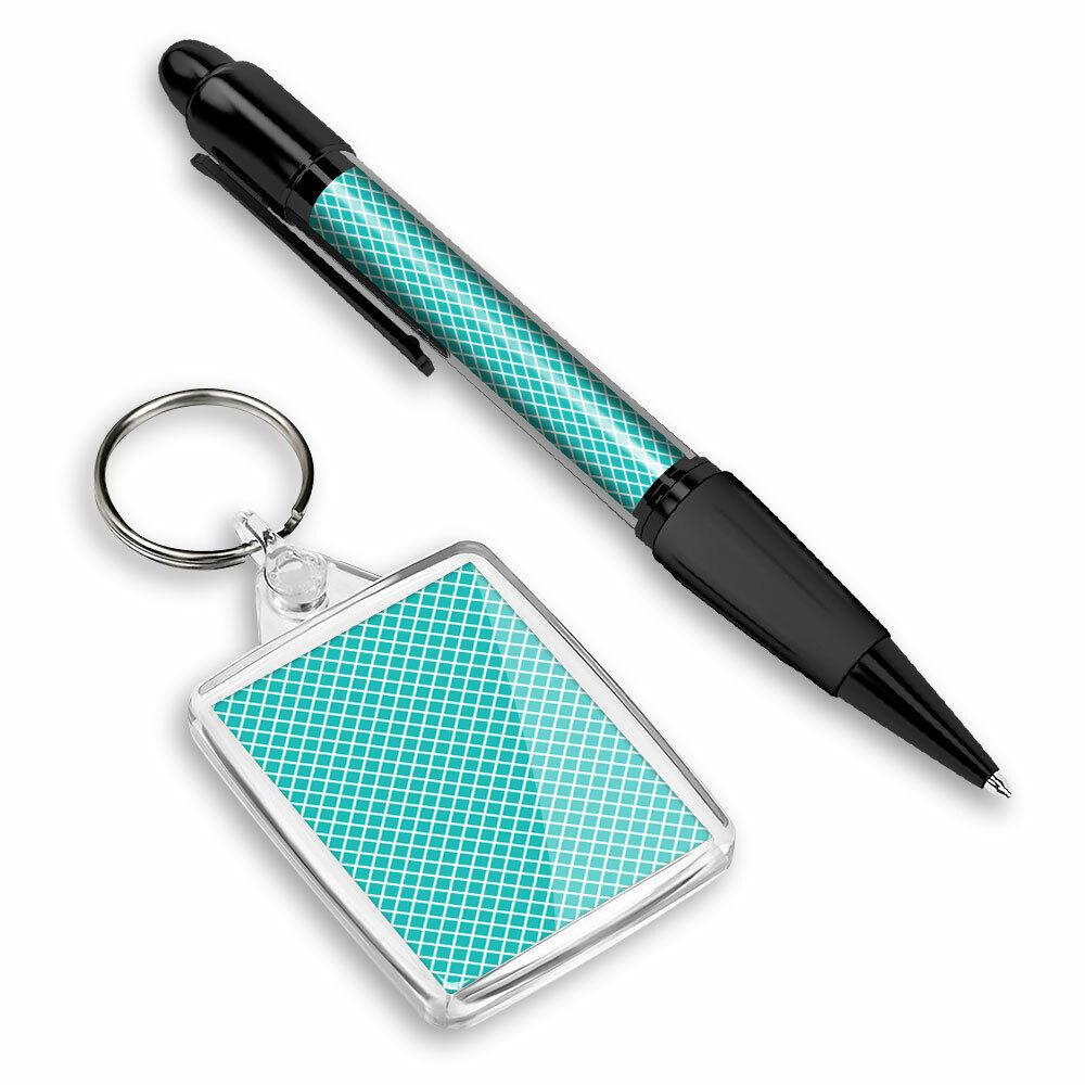 Pen & Keyring (Rectangle) - Aqua Teal Green Triangle Pattern #44128