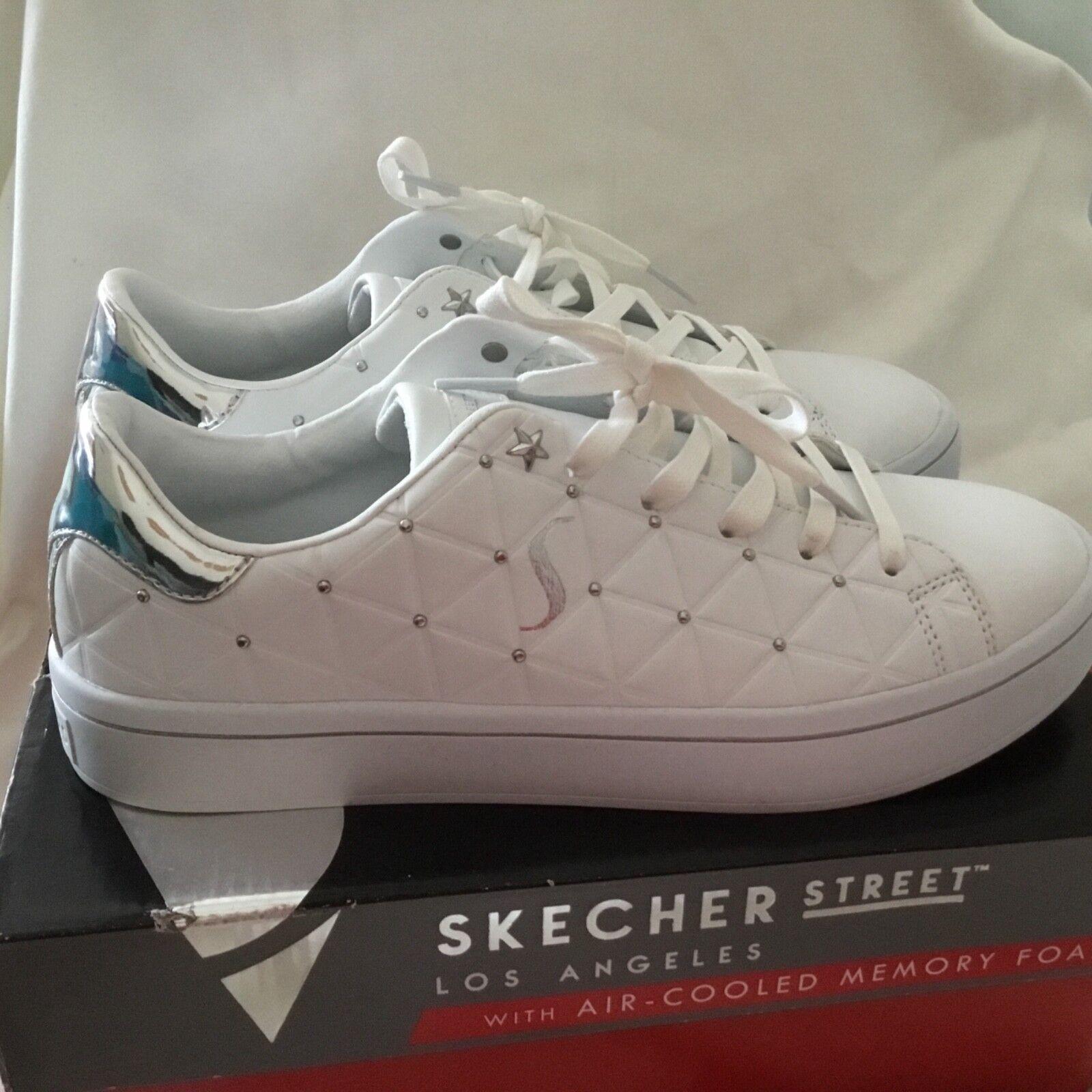 Skechers De Mujer Hi-lite-Bermuda Zapatilla De Deporte-Reino Unido Plateado 7 blancoo Plateado Unido 428d7a