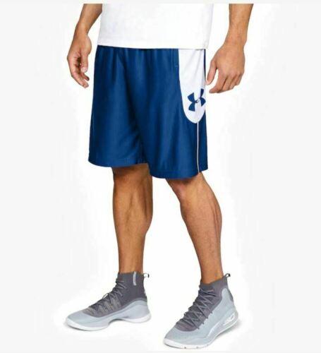 NWT Mens Under Armour Heatgear Athletic Basketball Shorts Blue//White 1317393 400