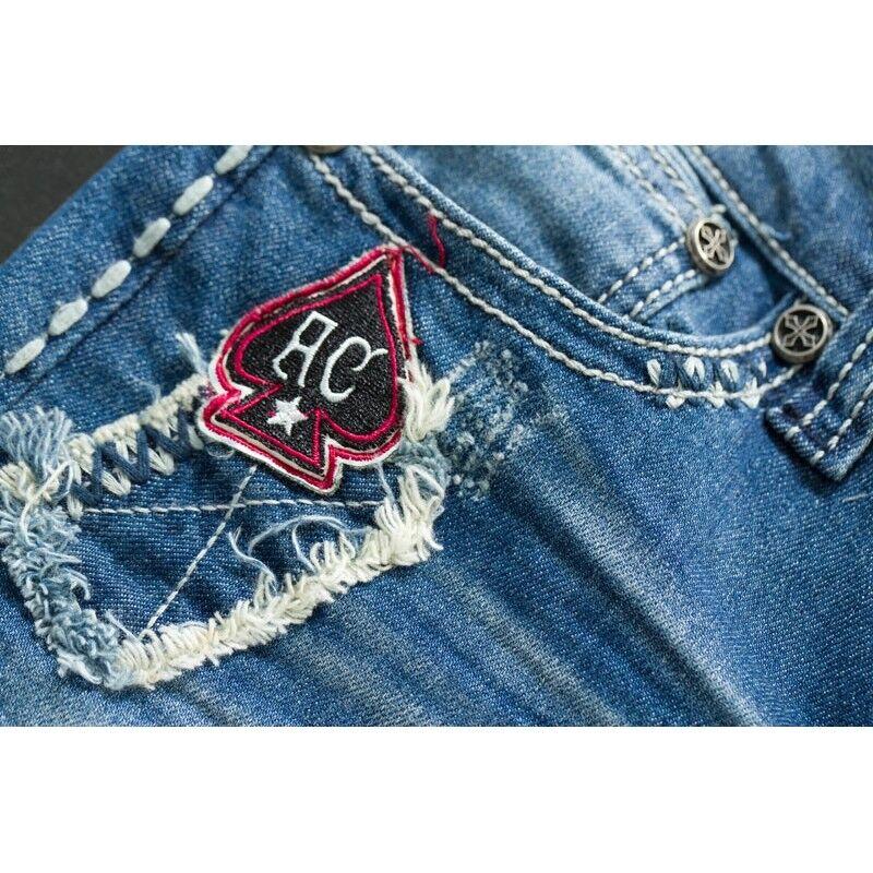 Affliction Jeans da Donna Donna Donna GIADA Volcano Jackson Blu Jeans Affliction 04d66c