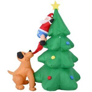 Albero Di Natale E Babbo Natale.Gonfiabile Albero Di Natale Con Babbo Natale E Cane 180cm Con Luci Led Esterno Ebay