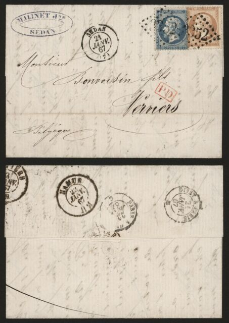 France 1867 - Cover Sedan to Verviers Belgium I665