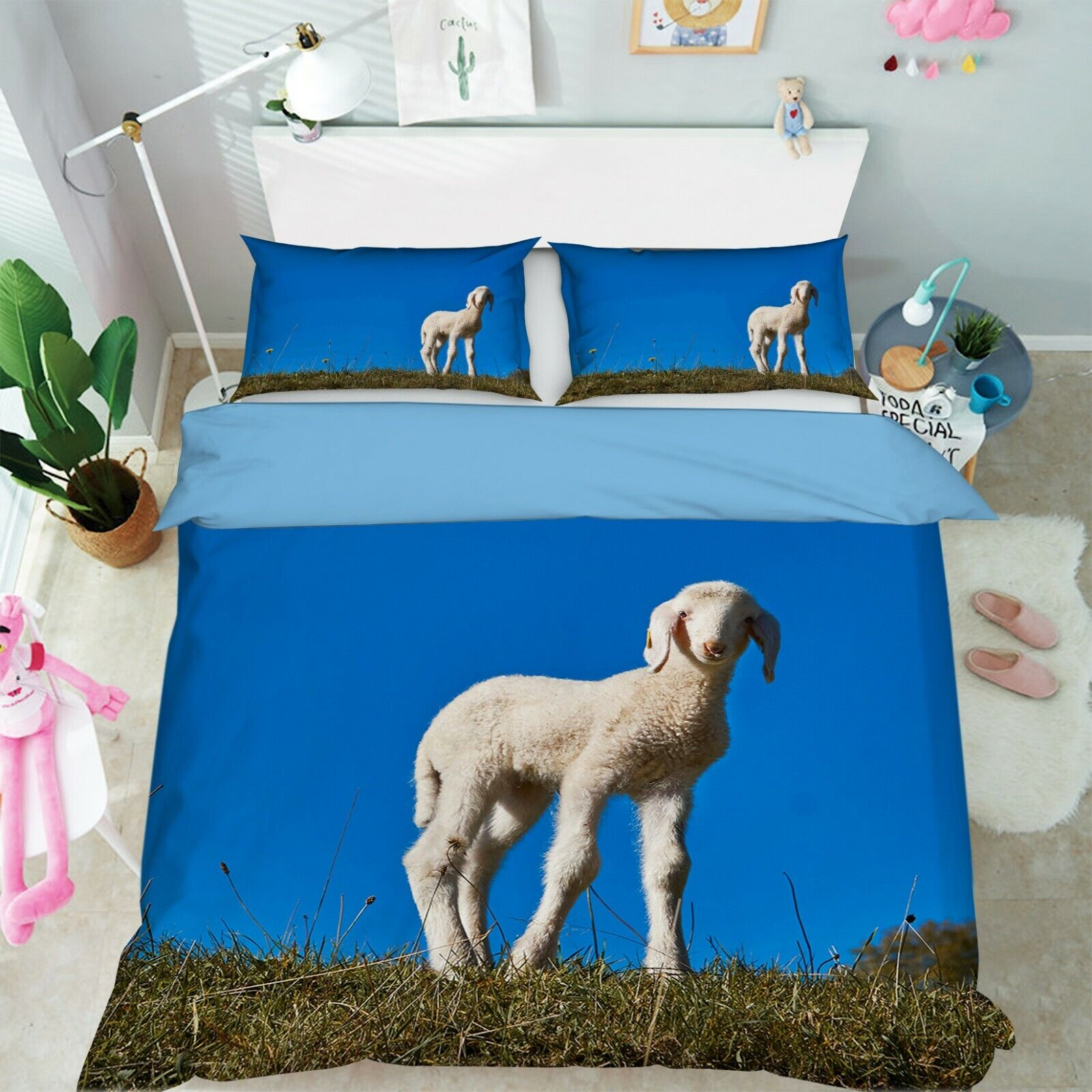 3D Lamb I61 Animal Bed Pillowcases Quilt Duvet Cover Queen King Angelia
