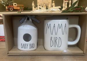 Rae Dunn - BABY BIRD Mini Birdhouse MAMA BIRD Coffee Mug Gift Set - LL Magenta