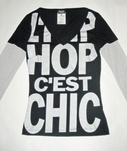 C'est Chic Noir Argent Donna 24us L'hip Dolce Tee Xs 38 D g gabbana It shirt hop YXczv