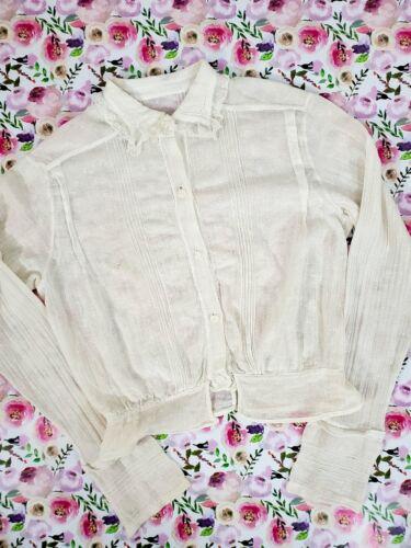 Vintage 10s Antique Cotton Blouse - xs, sm, petite - image 1