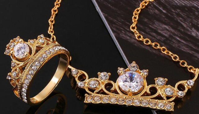 18K gold plated Wedding Party Necklace Ring crown set Austria crystal jewelry