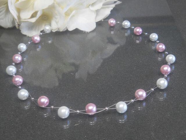 Bezaubernd zarte  Perlen Kette Collier rosa- weiß  TOP handgefertigt