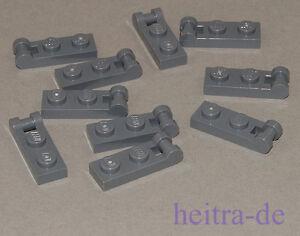 LEGO-10-x-Platte-1x2-mit-Halter-an-Laengsseite-dunkelgrau-60478-NEUWARE