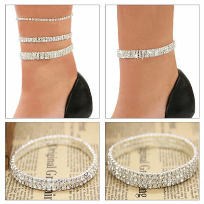 Silver Anklet Chain Bracelet 2 Rows Ankle Stretchy Diamante Rhinestones UK