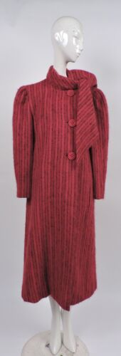 VINTAGE DESIGNER PAULINE TRIGERE STRIPED COAT W AT