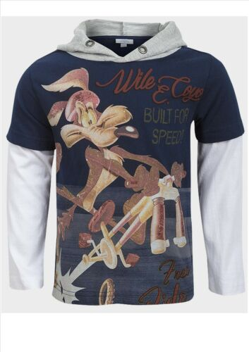 """BOY/'S /""""WILE E COYOTE/"""" LONG OR SHORT SLEEVE HOODIEHOODED T SHIRT//TOP 2-9YRS"""