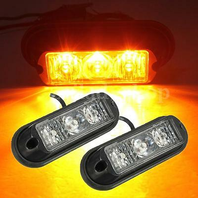 2pcs 12V Amber 3 LED Car Truck Lorries Strobe Emergency Flashing Warning Light