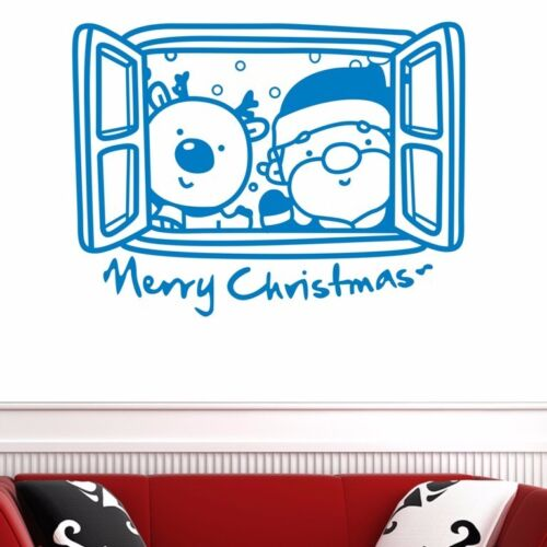 Merry Xmas Santa Reindeer Windows Wall Art Sticker Removable Vinyl Decal Decor