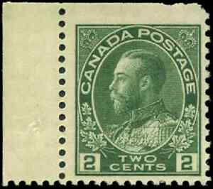 Canada-107e-mint-F-VF-OG-NH-1923-King-George-V-2c-green-Admiral-Dry-Printing