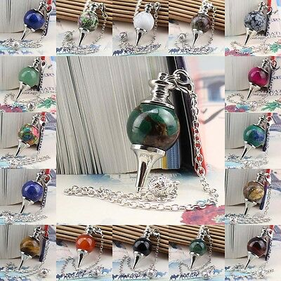 "40mm Gemstone Ball Pendulum Chakra Pendant 6"" Chain DIY Accessory Jewelery make"