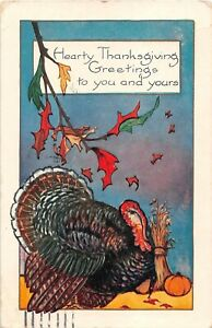 1923-Colorful-Art-Deco-Whitney-Thanksgiving-PoC-Turkey-by-Corn-Shock-amp-Pumpkin