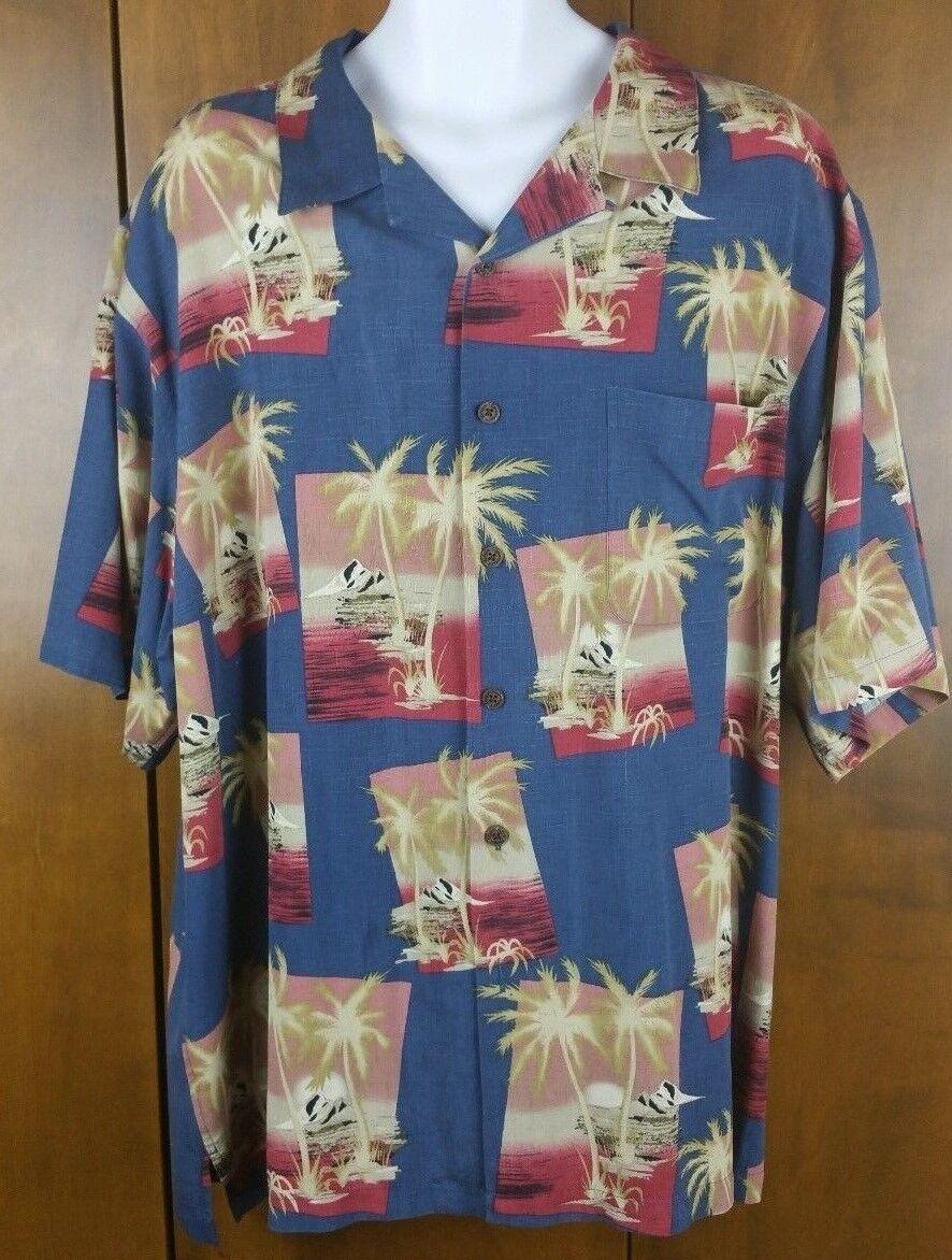 Reyn Spooner Hawaiian Traditional Silk Jacquard Shirt bluee pink Bone XXL