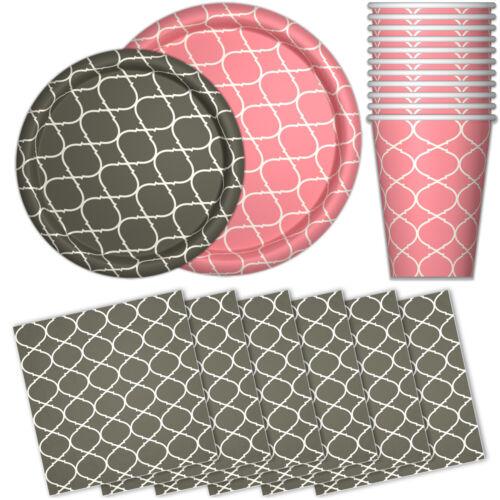 Dessert Plates, Details about  /Paper Dinnerware Set for 48 Dinner Plates Pink /& Gray