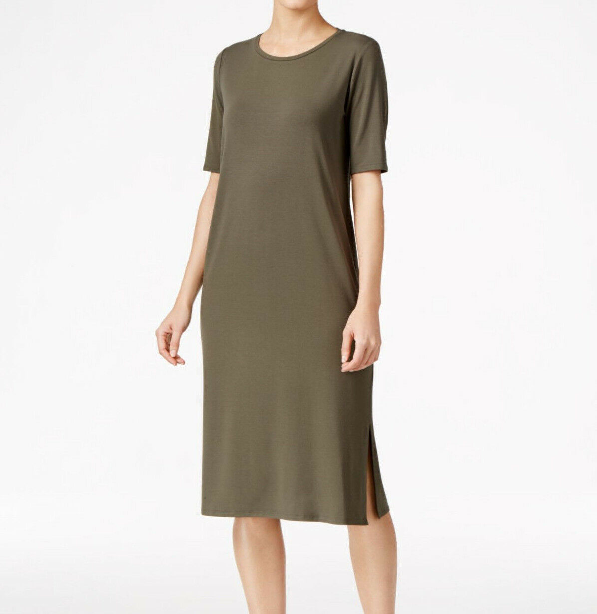Eileen Fisher Oregano Round Neck Midi T-Shirt Dress New Petites PS