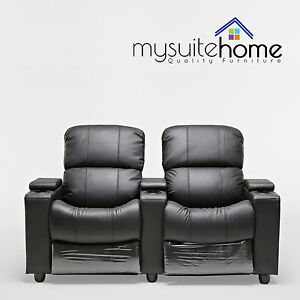 Image Is Loading Sophie Leather 2 Seater Home Theatre Recliner Sofa