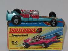 MATCHBOX SUPERFAST 64 Slingshot Dragster Metallic Blue MINT in H2 Box WIDE FRONT