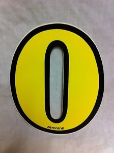 "Old School ZERONINE Number /""0/"" BMX Sticker Decal NOS White"