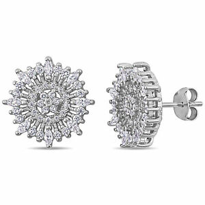 Amour-Sterling-Silver-Cubic-Zirconia-Floral-Cluster-Stud-Earrings