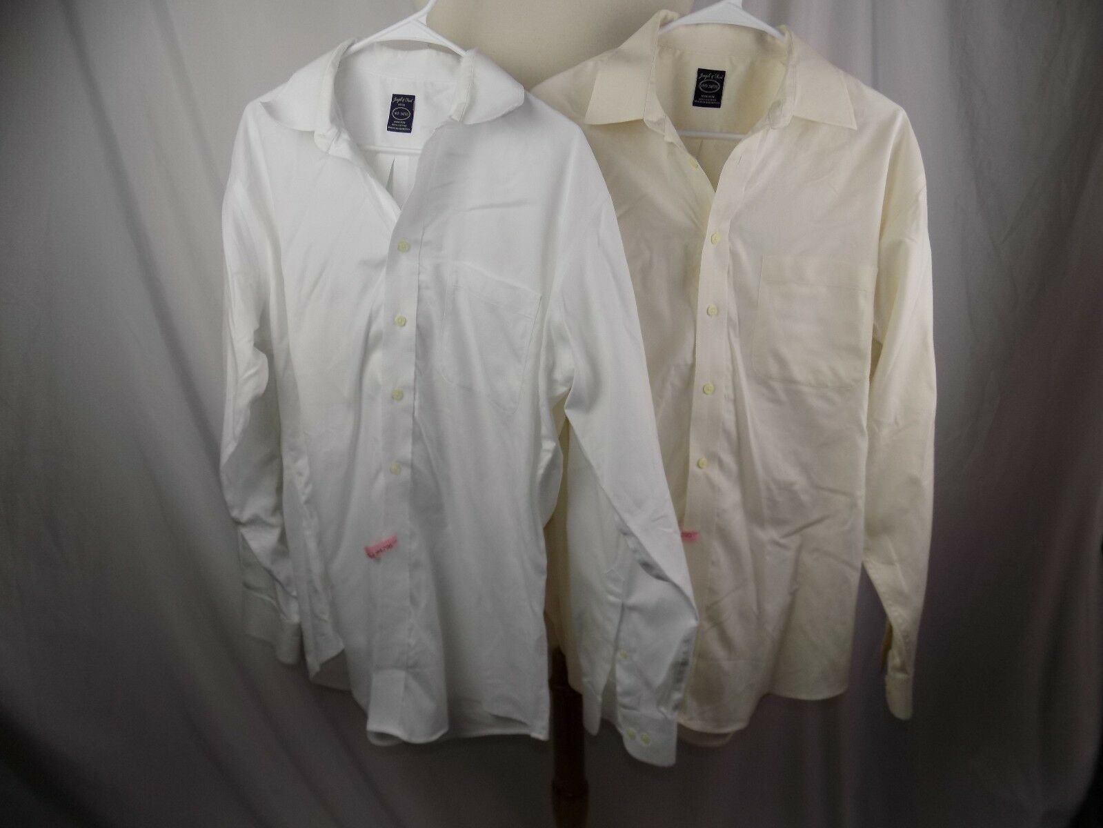 Lot of 2 Joseph & Feiss L S Button Dress Shirt 16 1 2 34 35 Fitted White & Cream